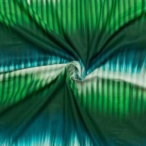 katoen batist met groen aqua wit fantasie streep rand dessin bedrukt