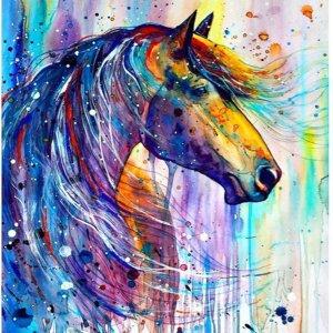 Happy Painter® Diamond Painting volwassenen - Kleurig paardenhoofd - 30x40cm