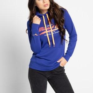 Mizuno Sweatshirt met capuchon in blauw voor Dames, grootte: L