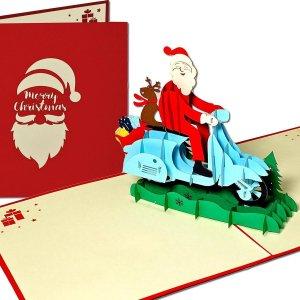 Popcards popupkaarten - Kerstkaart Kerstman op Scooter met Rendier en Cadeautjes pop-up kaart 3D wenskaart