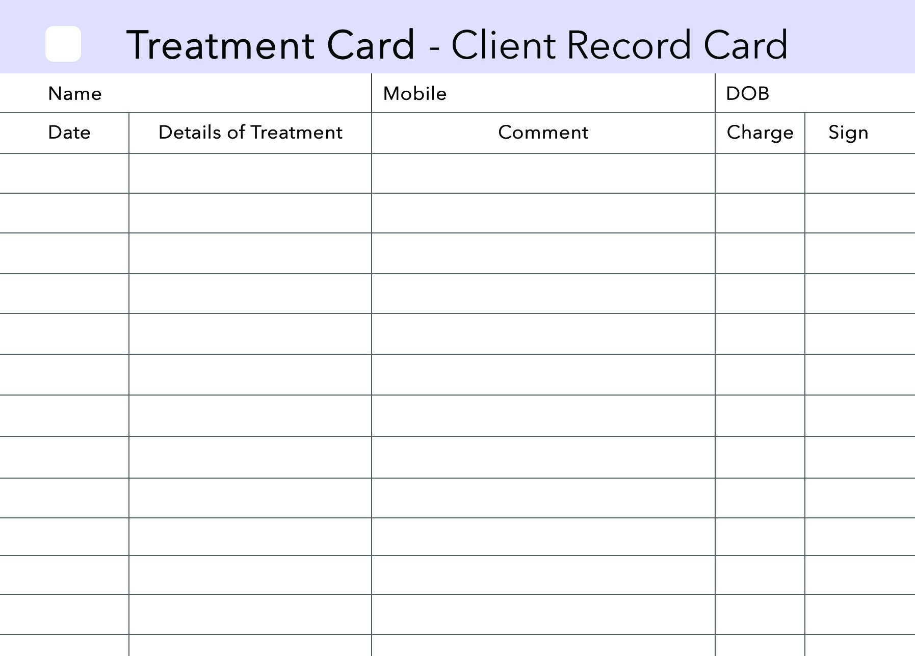 Printable Beauty Client Record Cards Download