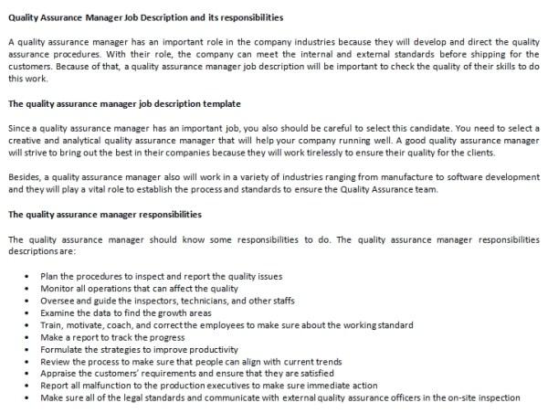Quality Assurance Manager Job Description and its ...
