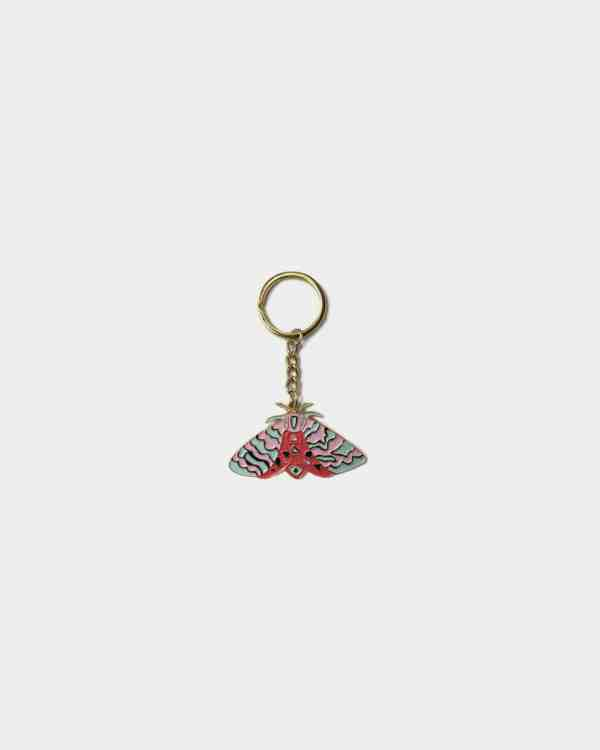 Gold chain and colorful moth keychain