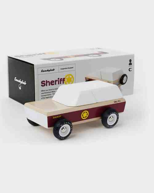 Wooden kids toy sheriff car