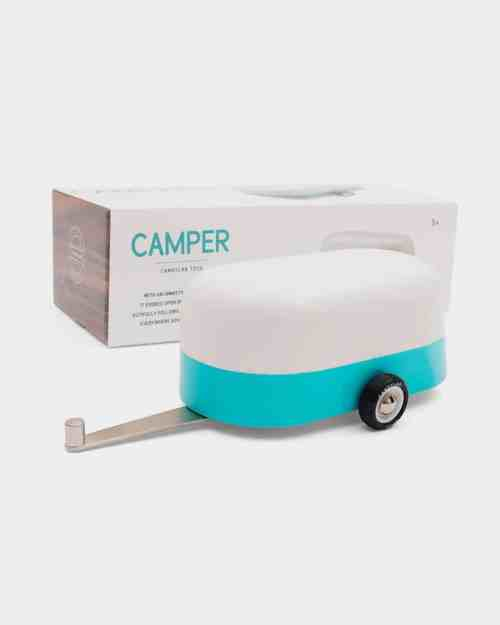 A photo of a blue camper toy