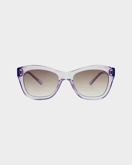 Lavender framed sunglasses with grey lenses