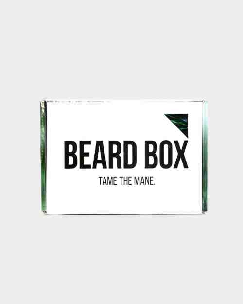 A box of men's grooming products