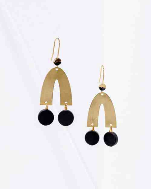 Gold brass earrings with black stones on the end