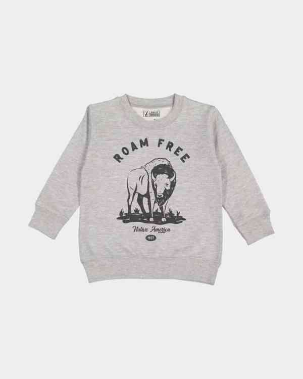 grey kids pullover with a buffalo printed on it in black