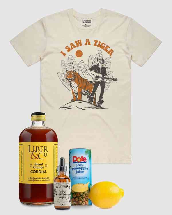 I Saw A Tiger tee shirt and cocktail ingredients for custom The Exotic cocktail