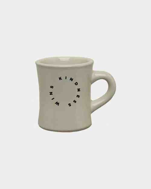 10oz natural military mug with black artwork that says Kindness Wins