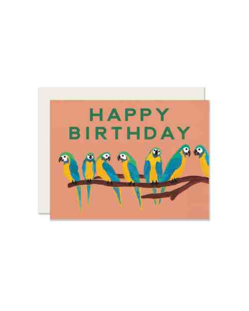 An orange card with parrots on it that says 'Happy Birthday.'