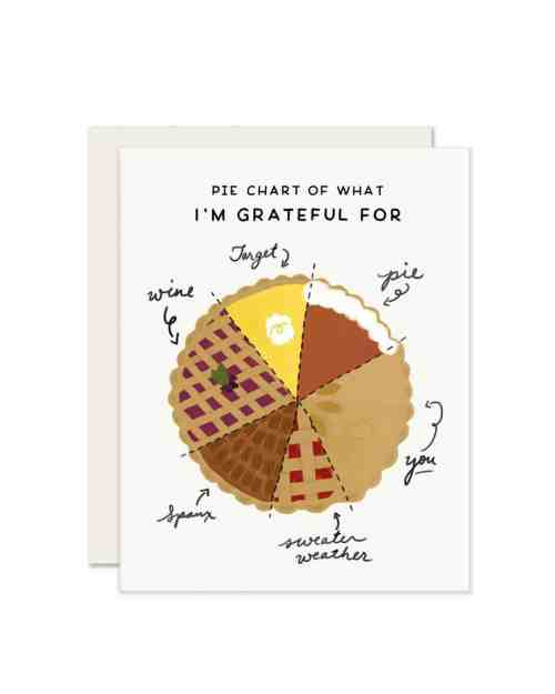 A white greeting card with a pie in the form of a pie chart that tells how thankful you are.