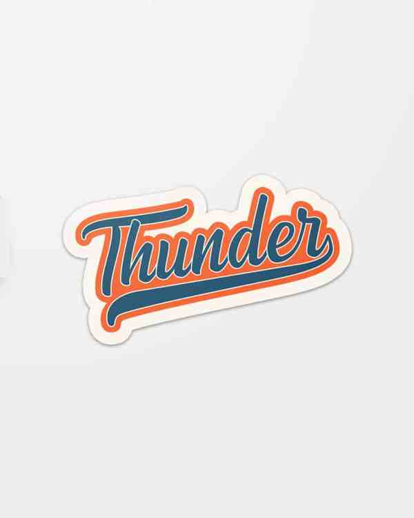 A sticker that says Thunder in script font for the Oklahoma City Thunder basketball team.
