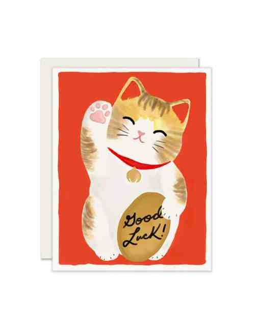 A red card witha. cat on it holding a sign that says 'Good Luck!'