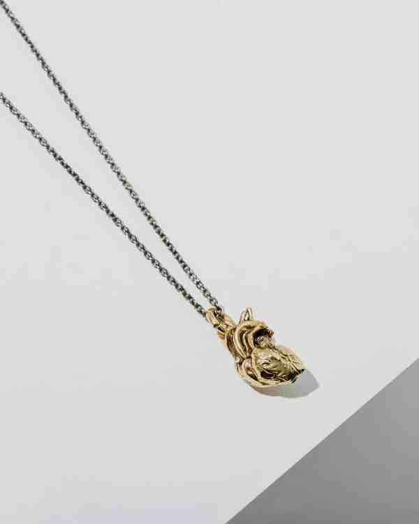 a brass gold necklace with an anatomical heart hanging from a chain