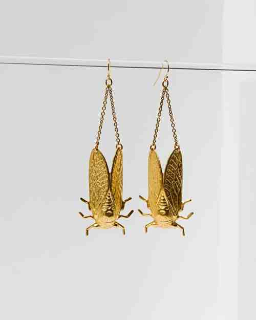Brass platted earrings in the shape of cicadas