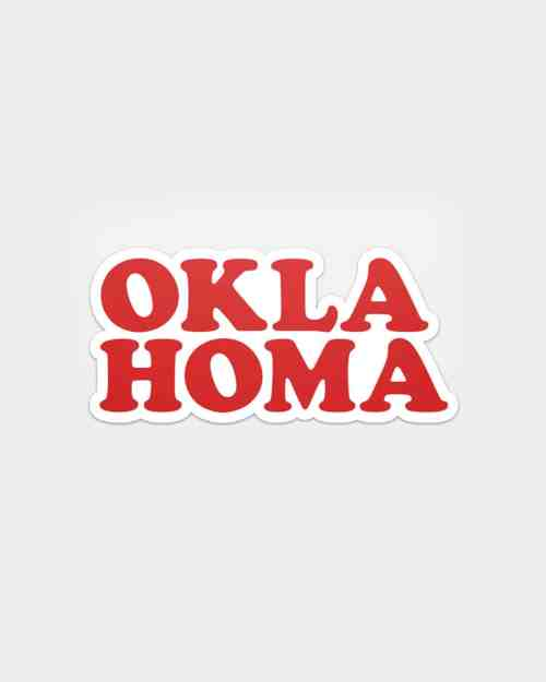 A sticker that says Oklahoma in red.