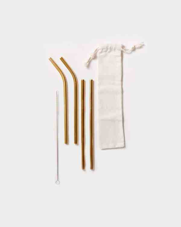 4 gold reusable stainless steel straws with cloth bag