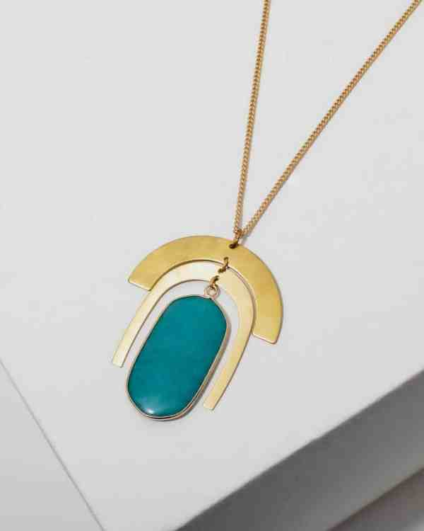 brass necklace with amazonite stone