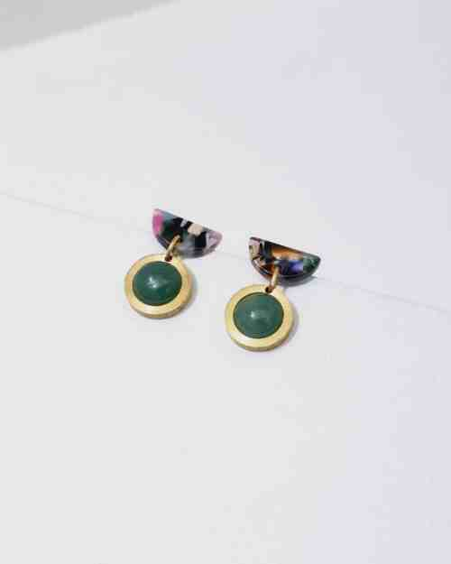 brass earrings with green stones