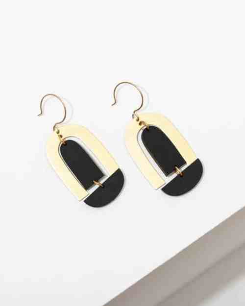brass earrings with black accents
