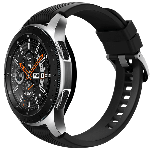 46mm Galaxy Watch in Silver on left with Onyx Black strap details on the right.