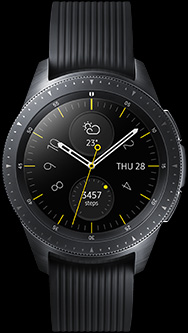 Front view of 42mm Galaxy Watch in Midnight Black.