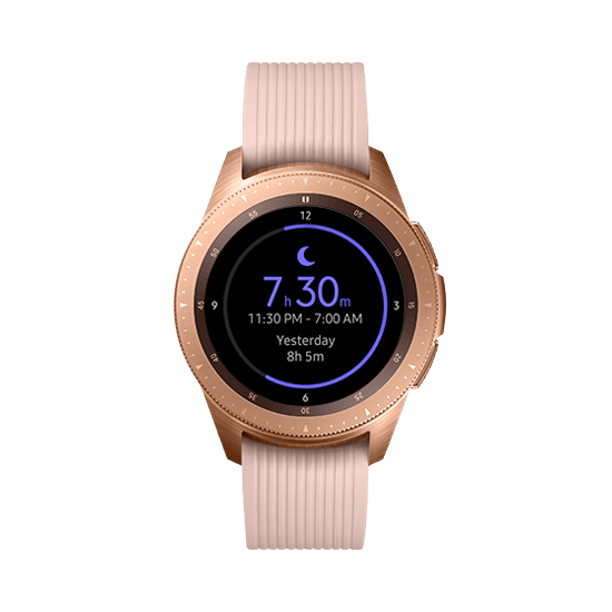 42mm Galaxy Watch in Rose Gold on white background with blue wave-like circle, showing sleep tracker function on the watchface.