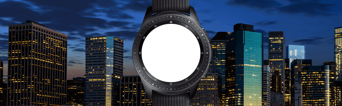 42mm Midnight Black Galaxy Watch at night with city skyline on the opposite shore, displaying an evening briefing.
