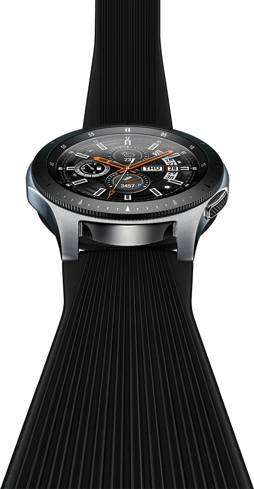 46mm Silver Galaxy Watch model in black viewed from below on mint-colored background.
