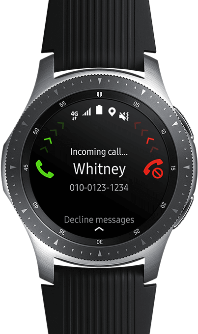 Watchface closeup of a 46mm Galaxy Watch inSilver on blurred background, showing an incoming call on the display.