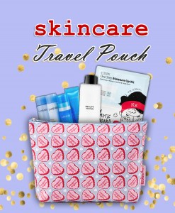 Skincare travel pouch text