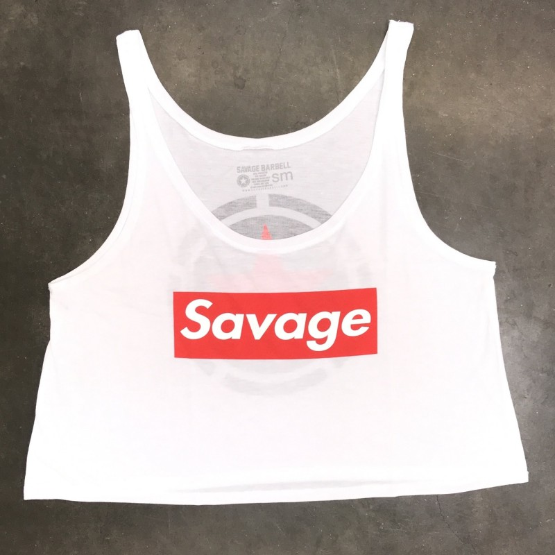39103ca584a216 Crop Top Savage Barbell Savage Box White