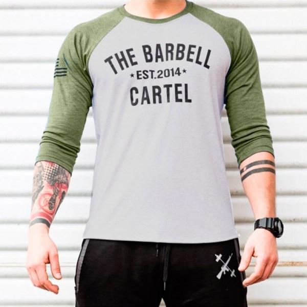 The Barbell Cartel 3/4 Baseball Tee OD Green