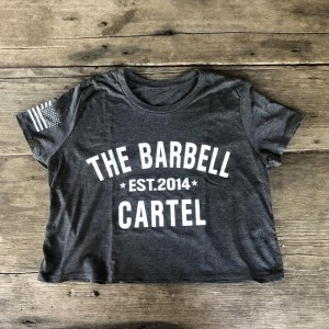 The Barbell Cartel Classic Logo Cropped T-Shirt Charcoal