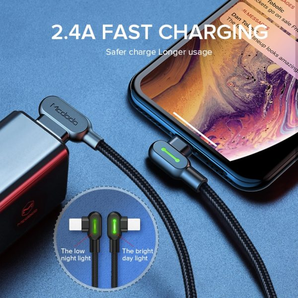 MCDODO 3m 2.4A Fast USB Cable Charging LED Mobile Phone Charger Cord Data Cable For iPhone 12 11 Pro Max XS Xr X 8 7 6s Plus SE