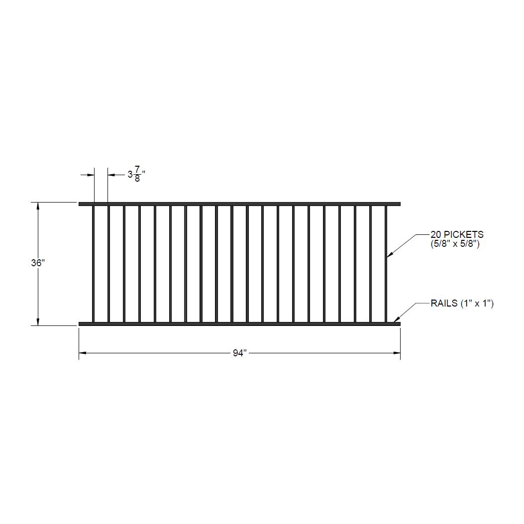 Iron Fence Panel 36 X 94 Yukon