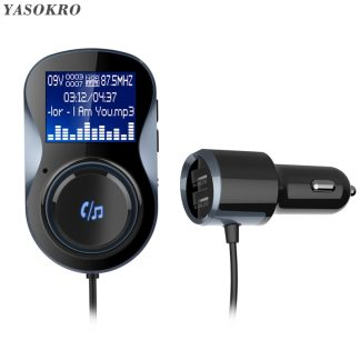 YASOKRO Bluetooth Handsfree Car Kit FM Transmitter Modulator Support TF Card MP3 Play Car Audio Adapter Dual USB Car Charger
