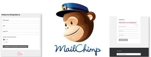 Формы подписки MailChimp, создание, дизайн, размещение на сайте Интернет магазина