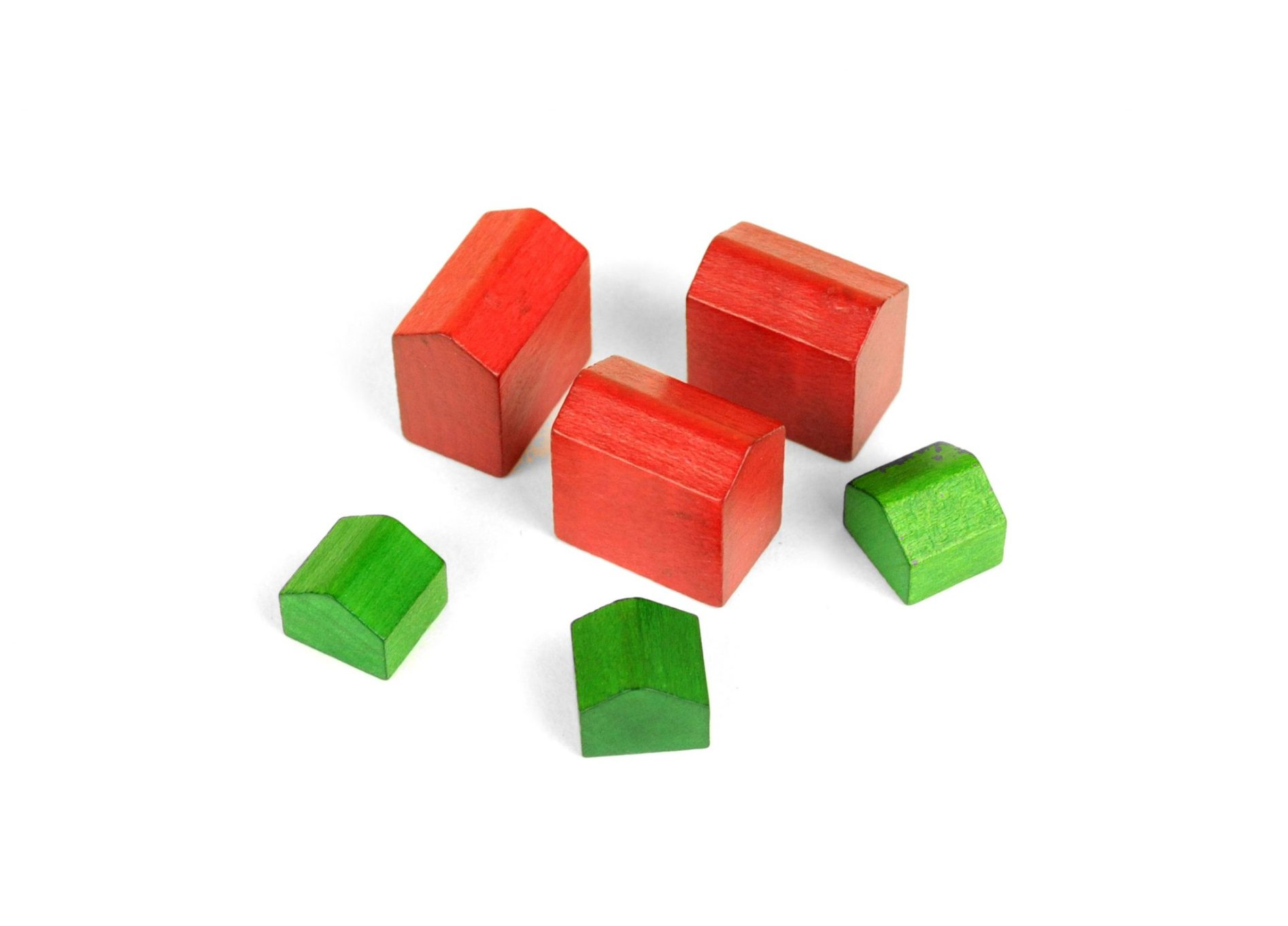 Set Of 6 Wooden Monopoly 3 Houses 3 Hotels
