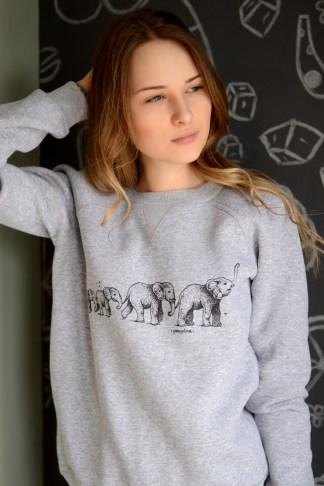 gray sweatshirt with elephants print //ShopLaLune