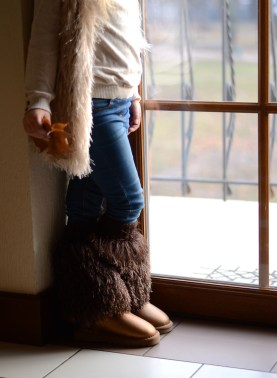 faux fur boot cuffs and vests