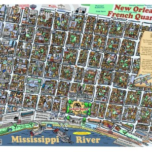 Massive French Quarter Caricature Map