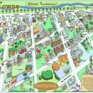 Olde Town Slidell Caricature Map