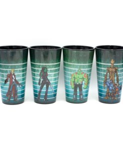 Set of four pint glasses with characters from Guardians of the Galaxy