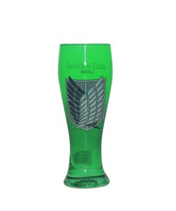 Green pilsner glass featuring Scout logo from Attack on Titan