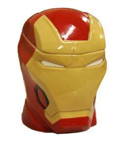 Lidded cookie jar shaped like Iron Man's head