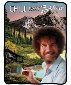 Chill with Bob Ross fleece blanket