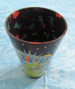 Overhead view of Reptar inside-print pint glass